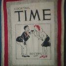 Vintage 1940's Hanky Hankie Cocktail Time Bottoms Up
