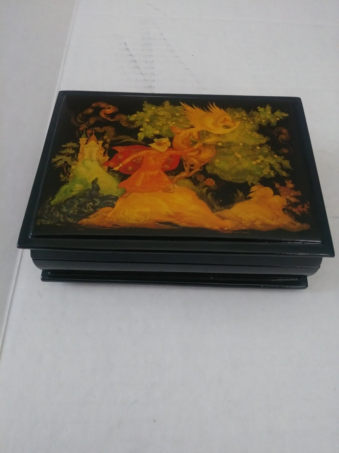 Vintage 1974 Russian Lacquer Palekh Box Dated and Signed