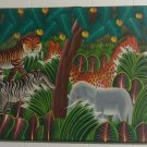 Vtg. Signed Jn Claude ... Louis Haiti Haitian Oil or Acrylic Painting On Cloth Jungle