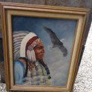 Vintage Oil Or Acrylic Folk Art Painting Signed B.S.Miller 95 Native American Indian Eagle in Sky