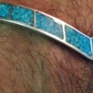 Vintage Native American Navajo Indian Sterling Crushed Turquoise Cuff