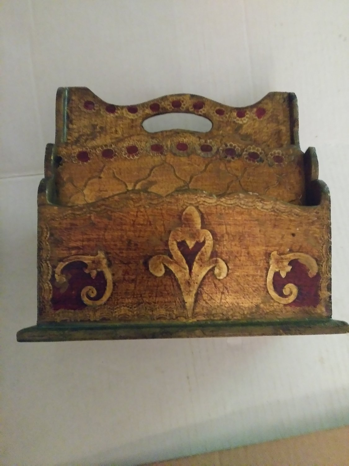 Vtg.Gilt Red Italy Wood Florentine 6 Compartment Letter Caddy Holder Tole Red and Gold