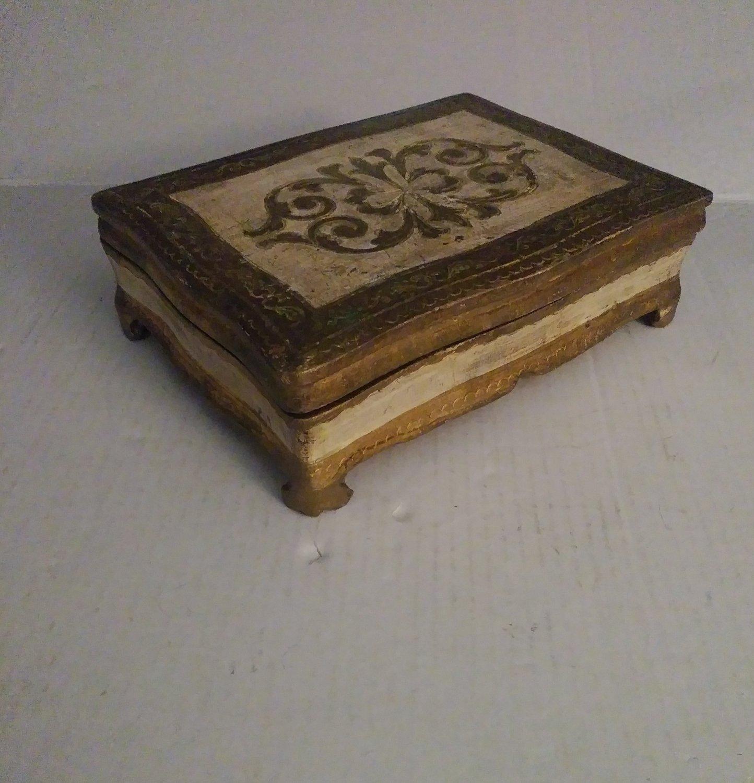 Vintage Italian Italy Tole Gilt Wood Florentine Box Mid Century