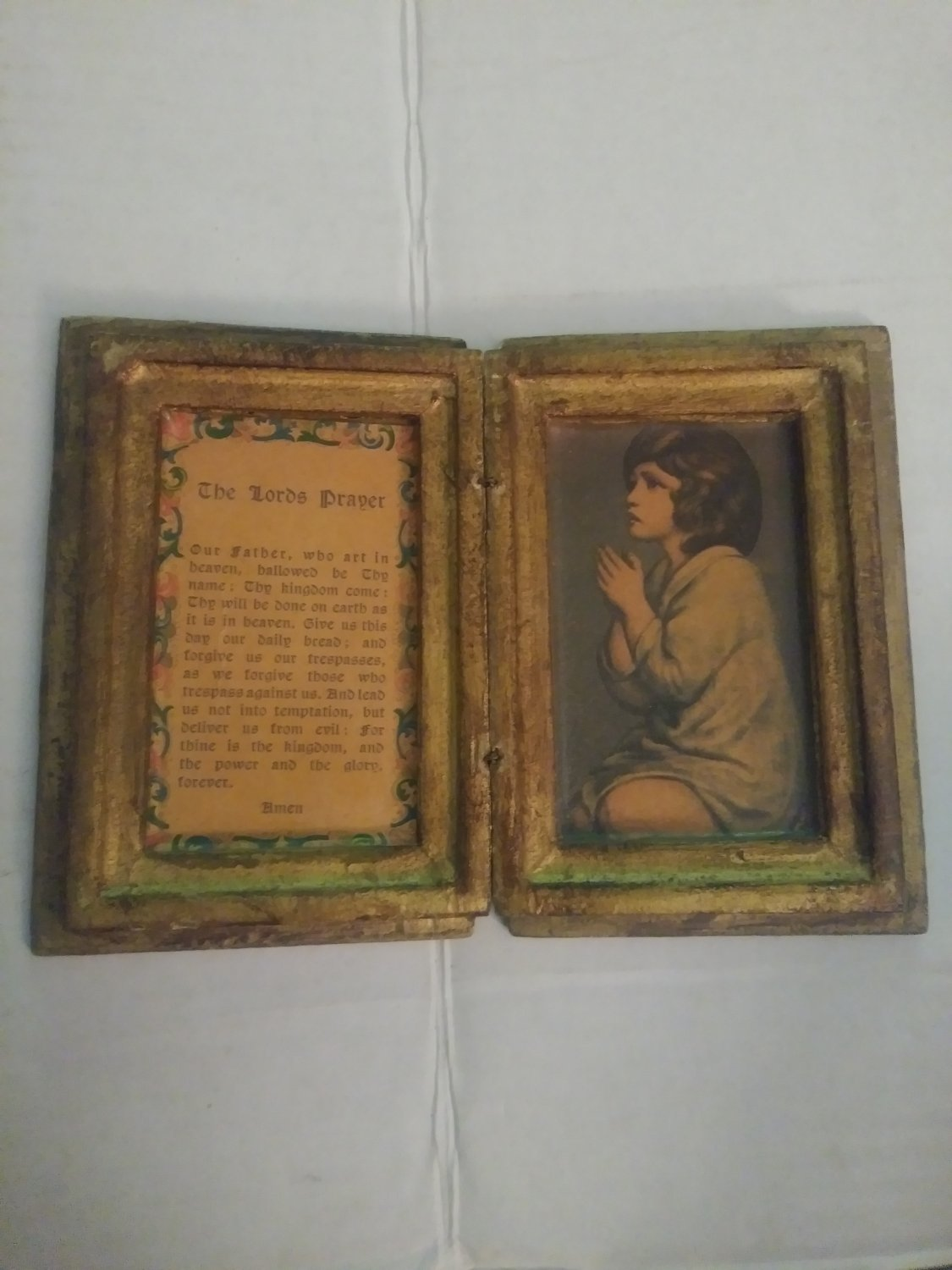 Vintage Gold Tole Gilded Wood Florentine Italy Book Box Lord's Prayer