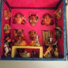 Vintage Funky Mexican Hand Painted Folk Art Shadow Box Miniature Face Masks
