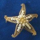 Vintage Gold Tone Alioto Adriana Italy 800 Silver Filigree Starfish Pin