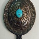Vintage Signed Native American Navajo Stamped Concho Sterling Bolo Tie