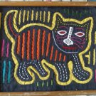 Vintage Kitty Cat South America kuna Mola Art Applique Hand Sewn