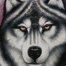 Signed Wolf Velvet Painting
