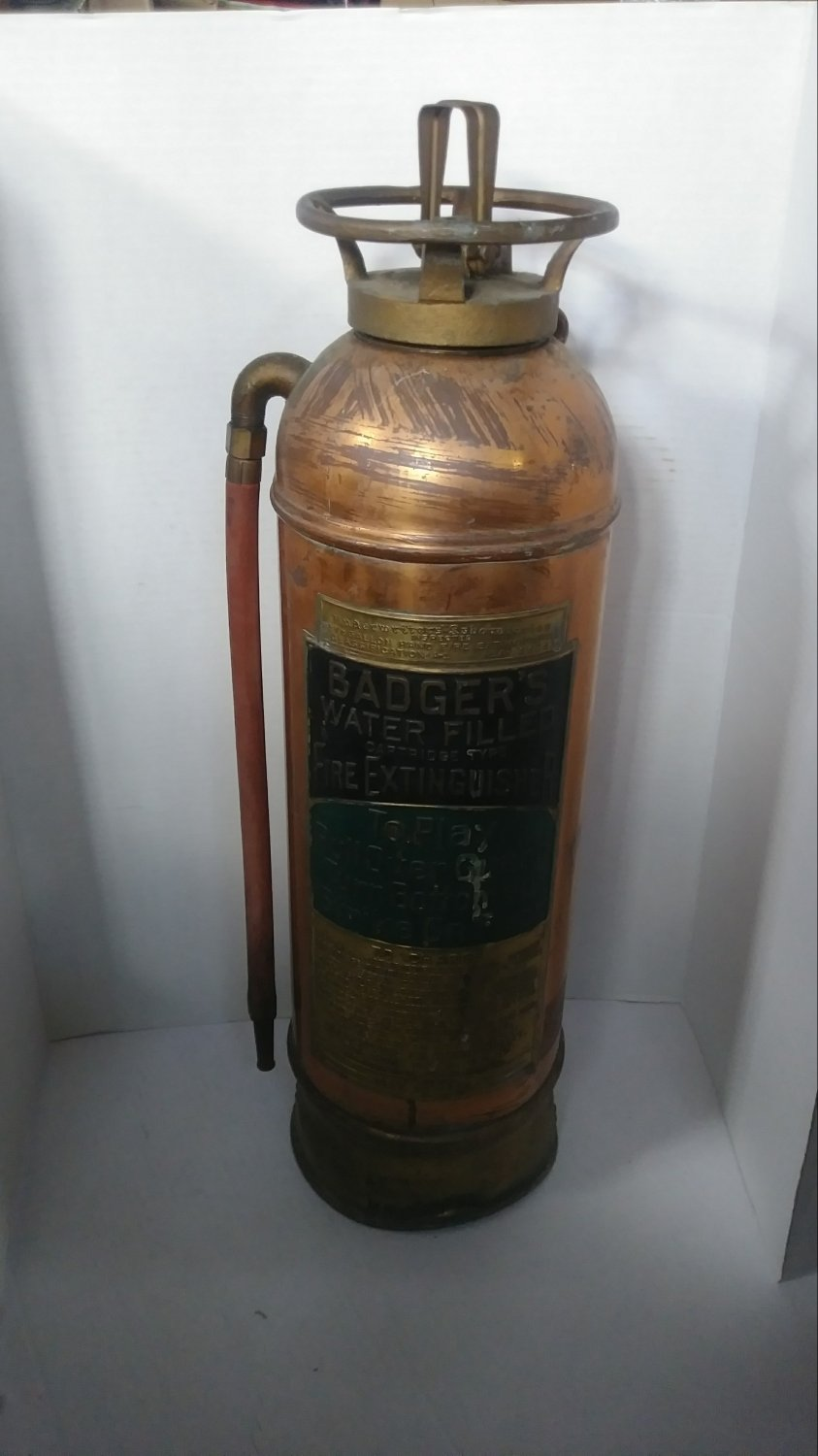 Antique Copper Brass Badger's Fire Extinguisher