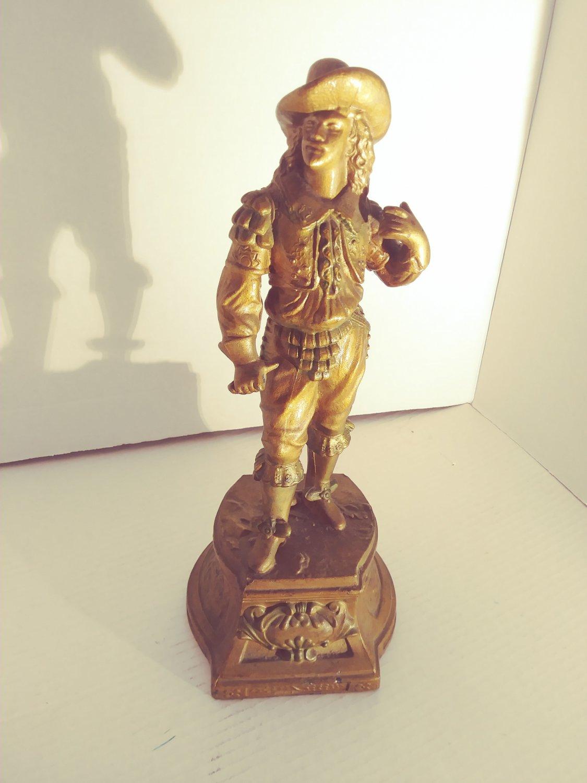 """Antique Spelter Lamp or Clock Statue 14"""""""