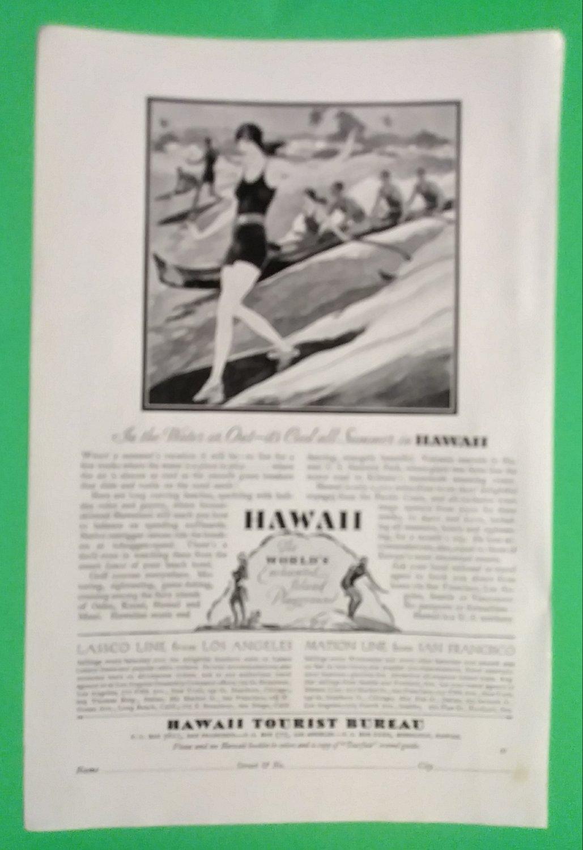 1929 Art Deco Era Woman Surfing Hawaii Tourist Ad