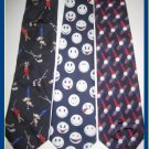 MENS GOLF PRO SPORTS CLUBS HAPPY FACE SILK NECK TIES