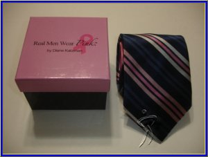 NEW REAL MEN WEAR PINK BREAST CANCER SILK TIE BLUE STRI