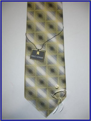 NEW STACY ADAMS SILK TIE SQUARES CUBES STRIPES NOVELTY
