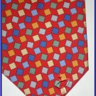 NEW EXECUTIVE DESIGNER STYLE SILK TIE RED SQUARES CUBES