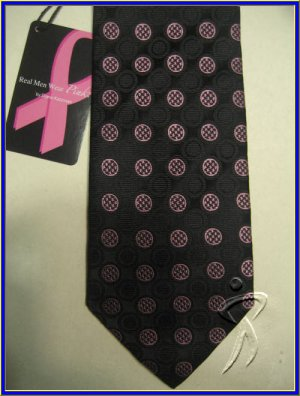NEW BREAST CANCER LOGO PINK DOTS SILK NECK TIE