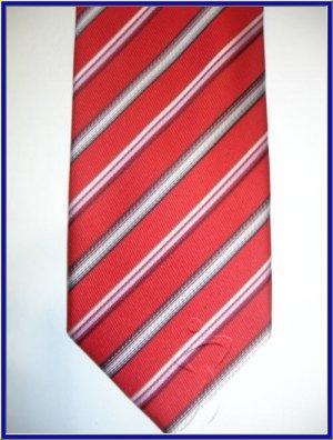 NEW BERGAMO HANKY CUFFLINK TIE SET RED STRIPES EXECUTIV
