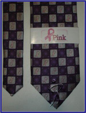 NEW BREAST CANCER LOGO CHECKERS SILK TIE PINK PURPLE