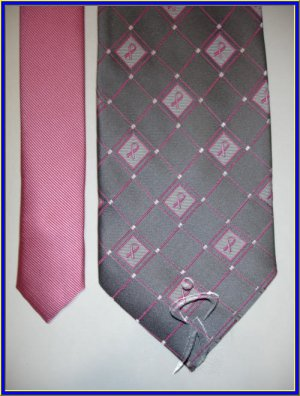 NEW BREAST CANCER SUPPORT LOGO SILK TIE PLAID PINK