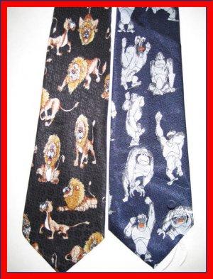 MENS WILD JUNGLE ANIMALS LION CAT BULL DOG NOVELTY TIES