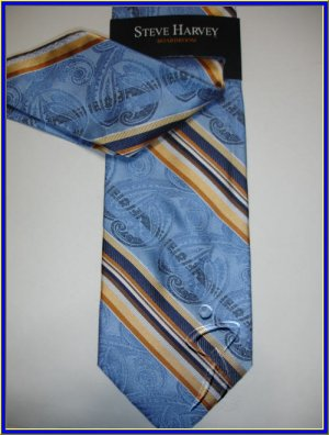 NEW STEVE HARVEY SILK TIE W/ HANKY BLUE STRIPES PAISLEY