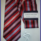 NEW GIORGIO BRUTINI HANKY TIE RED BLACK STRIPES