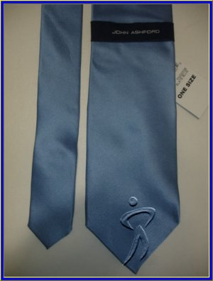 NEW MENS JOHN ASHFORD SOLID PLAIN BLUE SILK NECK TIE