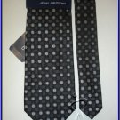 NEW MEN JOHN ASHFORD POLKA DOTS BLACK WHITE SILK TIE