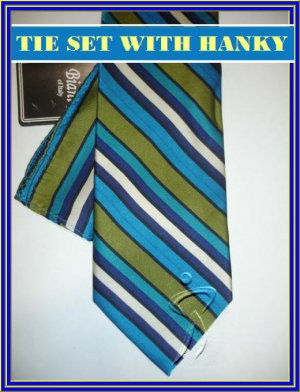 NEW BIANI OF ITALY SILK TIE HANKY BLUE GREEN STRIPES