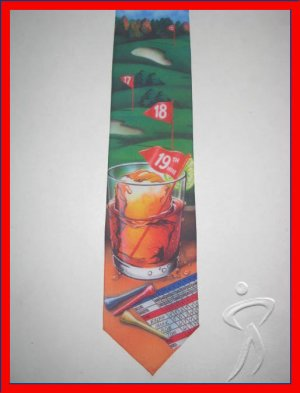 MENS 18TH 19TH HOLE GOLF SPORTS NOVELTY NECK TIE