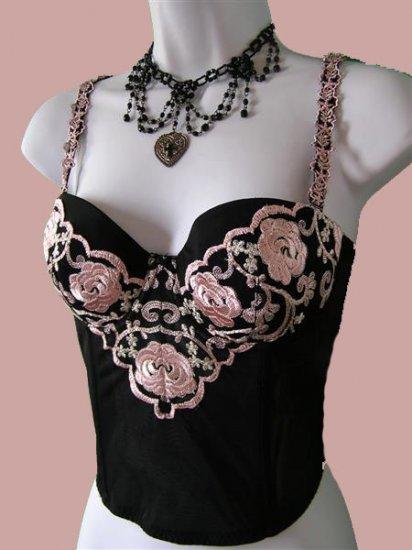 VICTORIAN Black PINK Embroidered Bustier Garter BELTS 34C