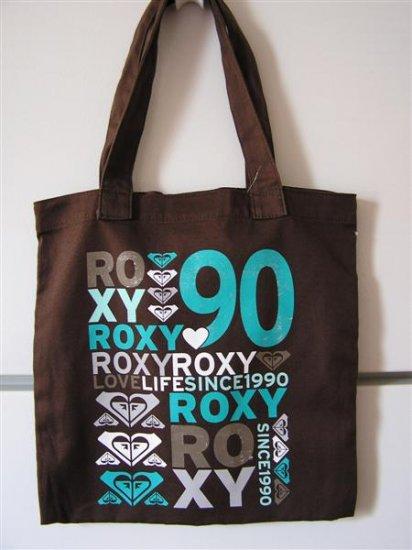 ROXY Brown Teal LOVE LIFE SURF CALI Canvas BOOKBAG TOTE