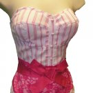 White PINK Lacey Pinstripe Padded Bustier Corset CLUB TOP Large