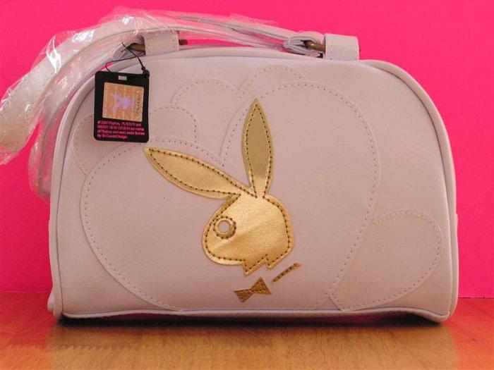 WHITE Gold PLAYBOY Bunny GIRLS NEXT DOOR DUFFLE Bowler Hand BAG PURSE