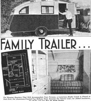 Teardrop Canned Ham Trailer Plans Vintage Popular Mechanics Shop Notes 1937