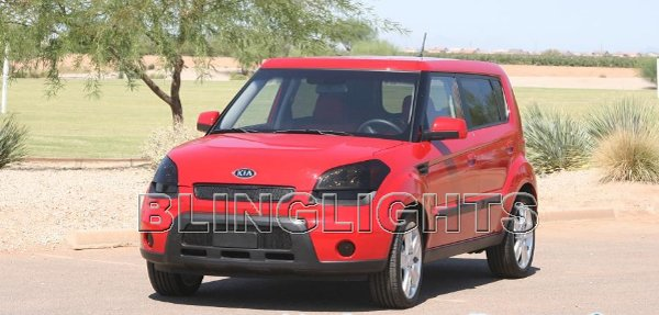 Kia Soul Head Lamp Light Tinted Overlays Kit Smoked Protection Film