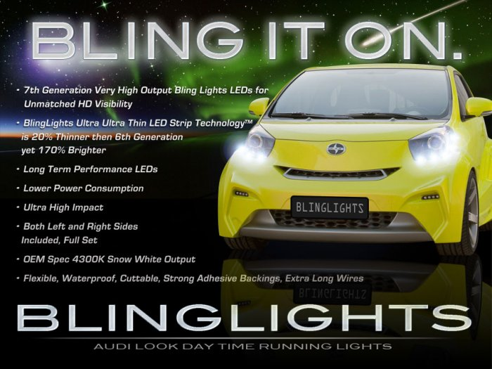 2009-2012 Toyota Scion iQ LED DRL Light Strips Headlamps Headlights Day Time Running Lamps Lights