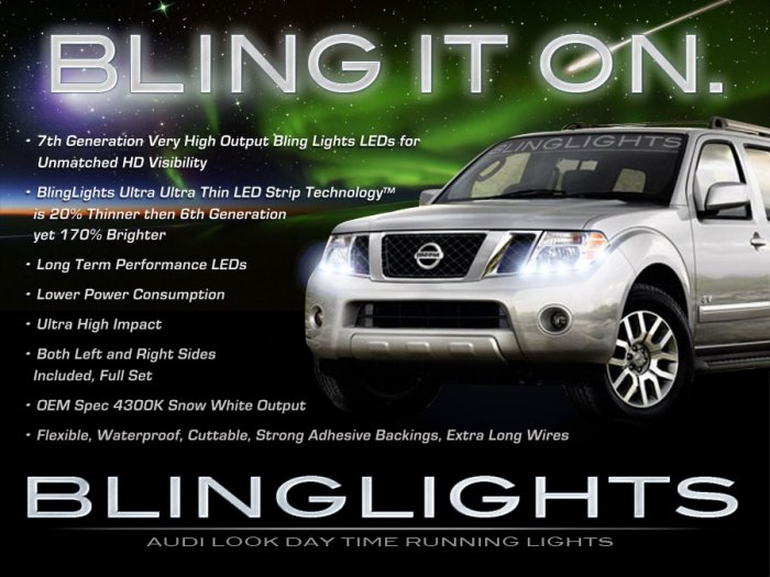 Nissan Pathfinder LED DRL Strips Headlamps Headlights Head Lamps Day Time Running Lights LEDs DRLs