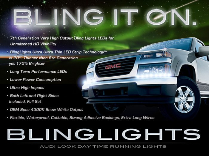 Chevy Colorado LED DRL Head Lamp Light Strips Kit Day Time Running