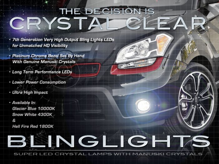 2010 2011 kia soul led fog lamps driving lights kit blue. Black Bedroom Furniture Sets. Home Design Ideas
