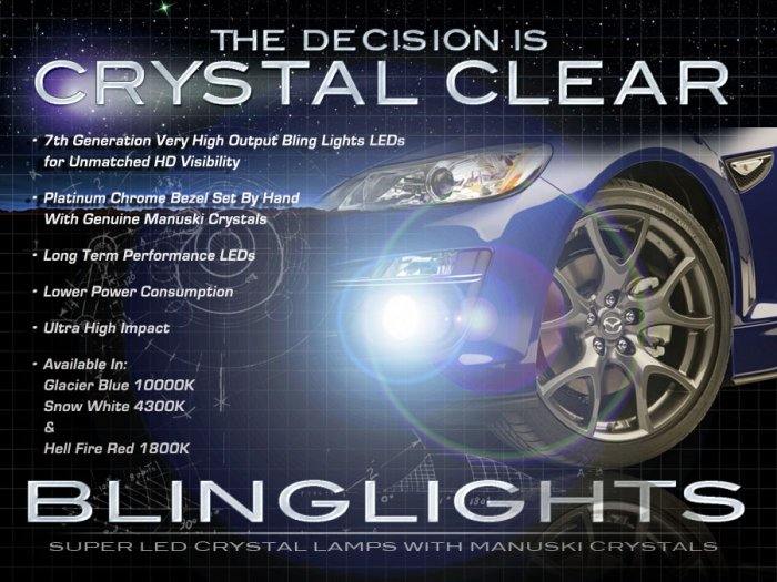 2009 2010 2011 Mazda RX-8 RX8 LED Fog Lamps Driving Lights Foglamps Foglights Drivinglights Kit