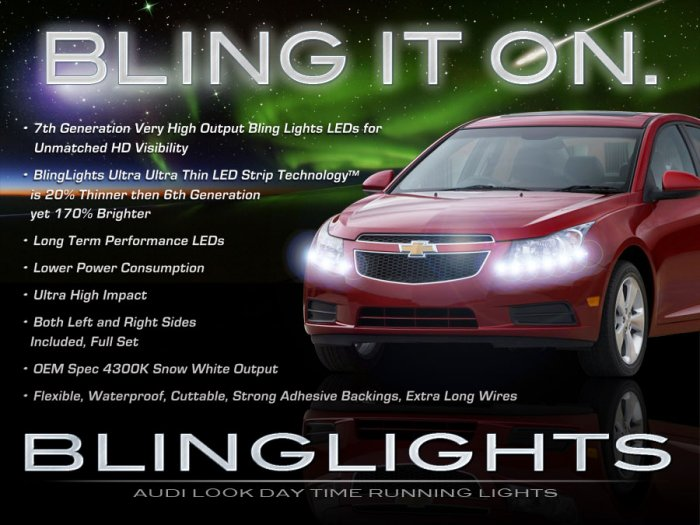 Chevy Cruze LED DRL Head Lamp Light Strips Kit Day Time Running