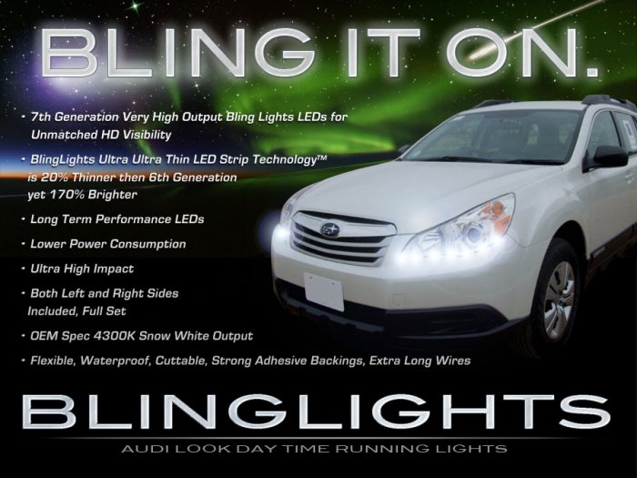 Subaru Outback LED DRL Head Light Strips Day Time Running Lamps
