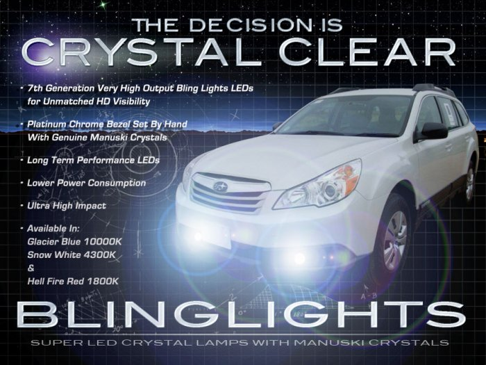 2009 2010 2011 2012 Subaru Outback LED Fog Lamps Driving Lights Foglamps Foglights Kit