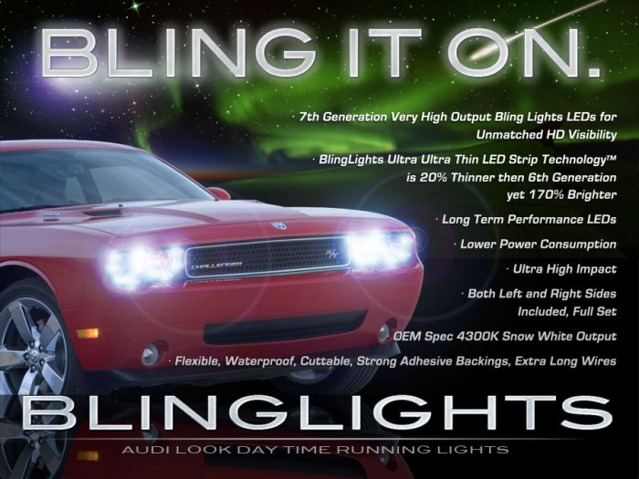 Dodge Challenger LED DRL Light Strips Day Time Running Lamps for LEDs Head DRLs Headlamps Headlights