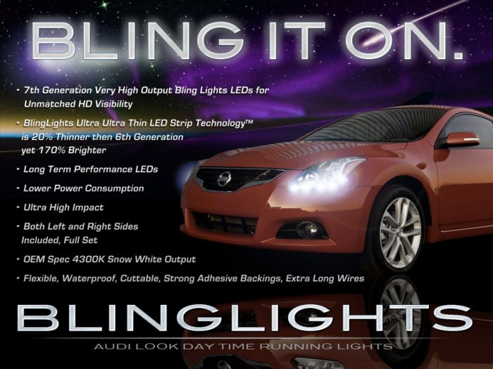 2010 2011 2012 Nissan Altima LED DRL Light Strips for Headlamps Headlights Head Lamps Strip Lights