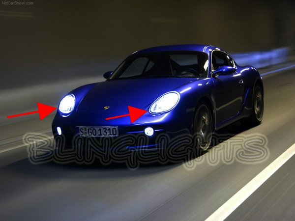 2006 2007 2008 2009 2010 Porsche Cayman 987c White Bulbs for Headlamps Headlights Head Lamps Lights