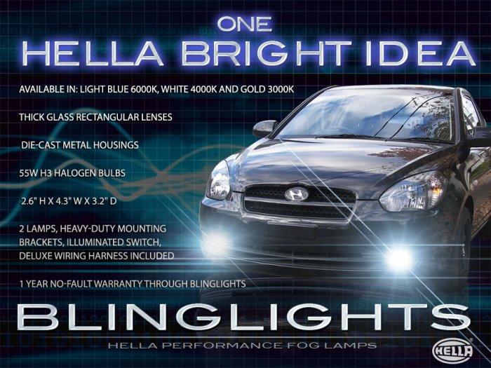 2006 2007 2008 2009 2010 2011 Hyundai Accent Xenon Fog Lamps Driving Lights Foglamps Foglights Kit