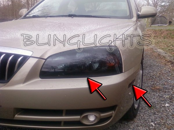 2004-2006 Hyundai Elantra Smoked Tinted Head Lamp Lights Overlays Film Protection